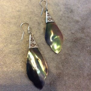 Silver and Abalone Earrings